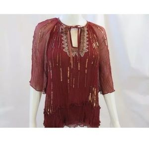 Anthropologie FLOREAT burgundy beaded blouse